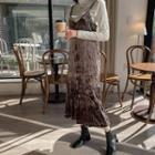 Crinkled Velvet Long Pinafore Dress
