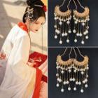 Retro Alloy Faux Pearl Fringed Hair Stick