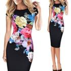 Floral Print Cap Sleeve Midi Pencil Dress