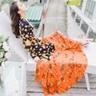 Long-sleeve Floral Print Maxi Sundress