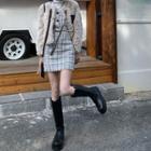 Plaid Cropped Vest / Mini Pencil Skirt / Fluffy Jacket