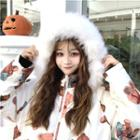 Bear Printed Hooded Jacket White - One Size