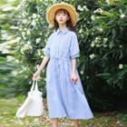 Elbow-sleeve Striped Midi Shirt Dress