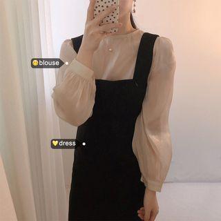 Midi Jumper Dress / Lantern-sleeve Blouse