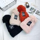 Applique Pompom Beanie Hat