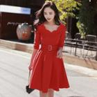 Elbow-sleeve Belted A-line Dress