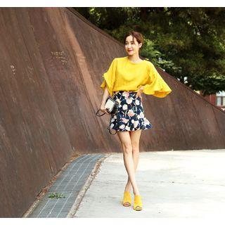 Floral Print Ruffle-hem Skirt