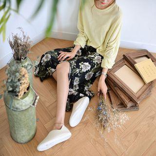 Band-waist Floral Print Long Skirt