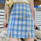 Plaid Min Pencil Skirt