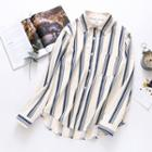 Long-sleeve Striped Shirt Almond - One Size