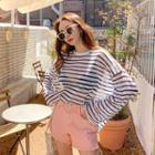 Wide-sleeve Striped Sheer Knit Top