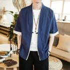 Color Block Elbow-sleeve Frog-button Jacket