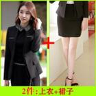 Set: Pencil Skirt + Collarless Blazer