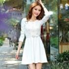Long-sleeve Lace Panel A-line Dress