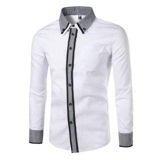 Button-down Collar Contrast Placket Shirt