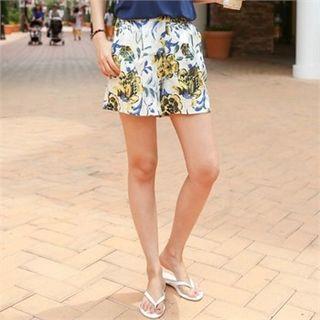 Floral Print Linen Blend Shorts