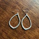 Metallic Water-drop Dangle Earrings Silver - One Size