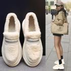 Platform Fleece Laceless Sneakers