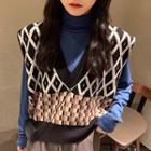 Patterned Knit Vest / Turtleneck Long-sleeve Top