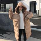 Hooded Panel Long Padded Jacket