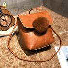 Faux-leather Pompom-accent Backpack