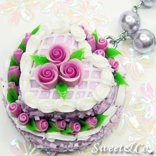 Purple Double Layer Rose Cake Pearl Necklace