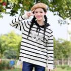 Cat Stripe Long-sleeve Hoodie