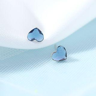 Faux Crystal Heart Earring 1 Pair - Blue - One Size