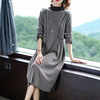 Mock-turtleneck Houndstooth Midi A-line Knit Dress