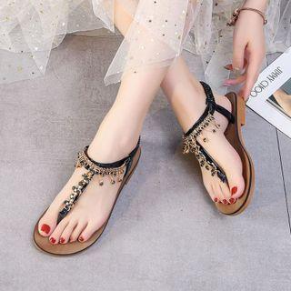 Rhinestone Ankle-strap Flip-flops