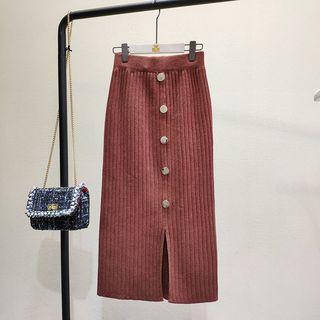Buttoned Midi Rib Knit Skirt