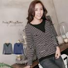 Striped V-neck-trim Long-sleeve Top