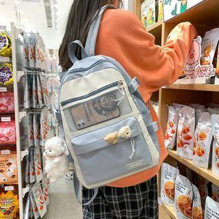 Mesh Pocket Two-tone Backpack