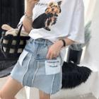 Patch-work Denim Skirt