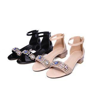 Genuine Leather Jeweled Chunky-heel Sandals