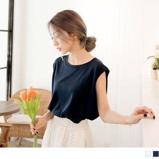 Sleeveless Round Neck Chiffon Top