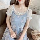 Short-sleeve Frill Trim Lace Top
