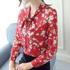 Floral Print Ribbon Chiffon Blouse