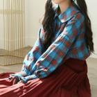 Round-collar Plaid Flannel Shirt One Size