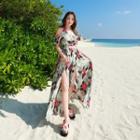 Floral Print Cold Shoulder Slit Maxi Sundress