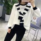 Inset Scarf Long Sleeve Top