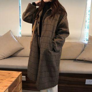 Plaid Buttoned Long Coat As Shown In Figure - One Size