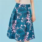 Zip-side Floral-pattern A-line Skirt