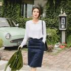 Elastic-waist Denim Pencil Skirt
