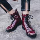 Chunky Heel Faux Patent Leather Lace Up Boots