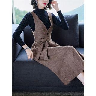 Set: Mock-turtleneck Perforated Ribbed Knit Top + Bow Midi Pinafore Dress