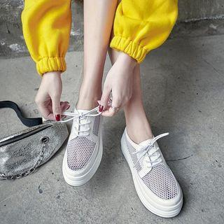 Genuine Leather Perforated Lace-up Platform Shoes