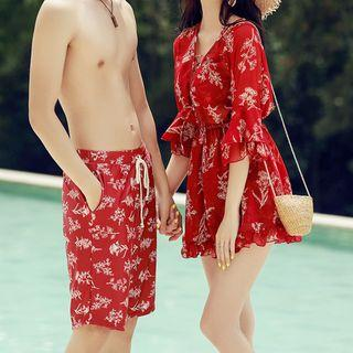 Couple Matching Floral Bikini Top / Swim Shorts / Cover-up / Beach Shorts / Set