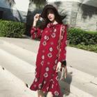 Printed Bow Accent Long Sleeve Chiffon Dress