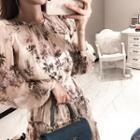 Set: Floral Print Ruffle-trim Chiffon Dress + Floral Print Slipdress